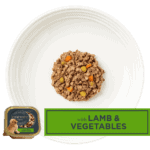 Isolated aerial image of Encore lamb dog food pate with vegetables on a plate