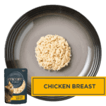 Isolated aerial image of Encore chicken cat food on a plate