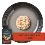 Isolated aerial image of Encore chicken with beef cat food on a tray