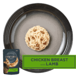 Isolated aerial image of Encore chicken with lamb cat food on a tray