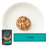 Isolated aerial image of Encore tuna cat food on a plate