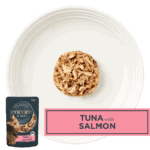 Isolated aerial image of Encore tuna with salmon cat food on a plate