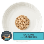 Isolated aerial image of Encore Sardine Cat food with Mackerel on a plate