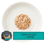Aerial image of Encore Tuna Cat food with crab on a plate