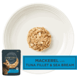 Isolated aerial image of fillet of tuna cat food with seabream