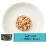 Isolated aerial image of a plate of Encore sardine cat food with tuna on a plate