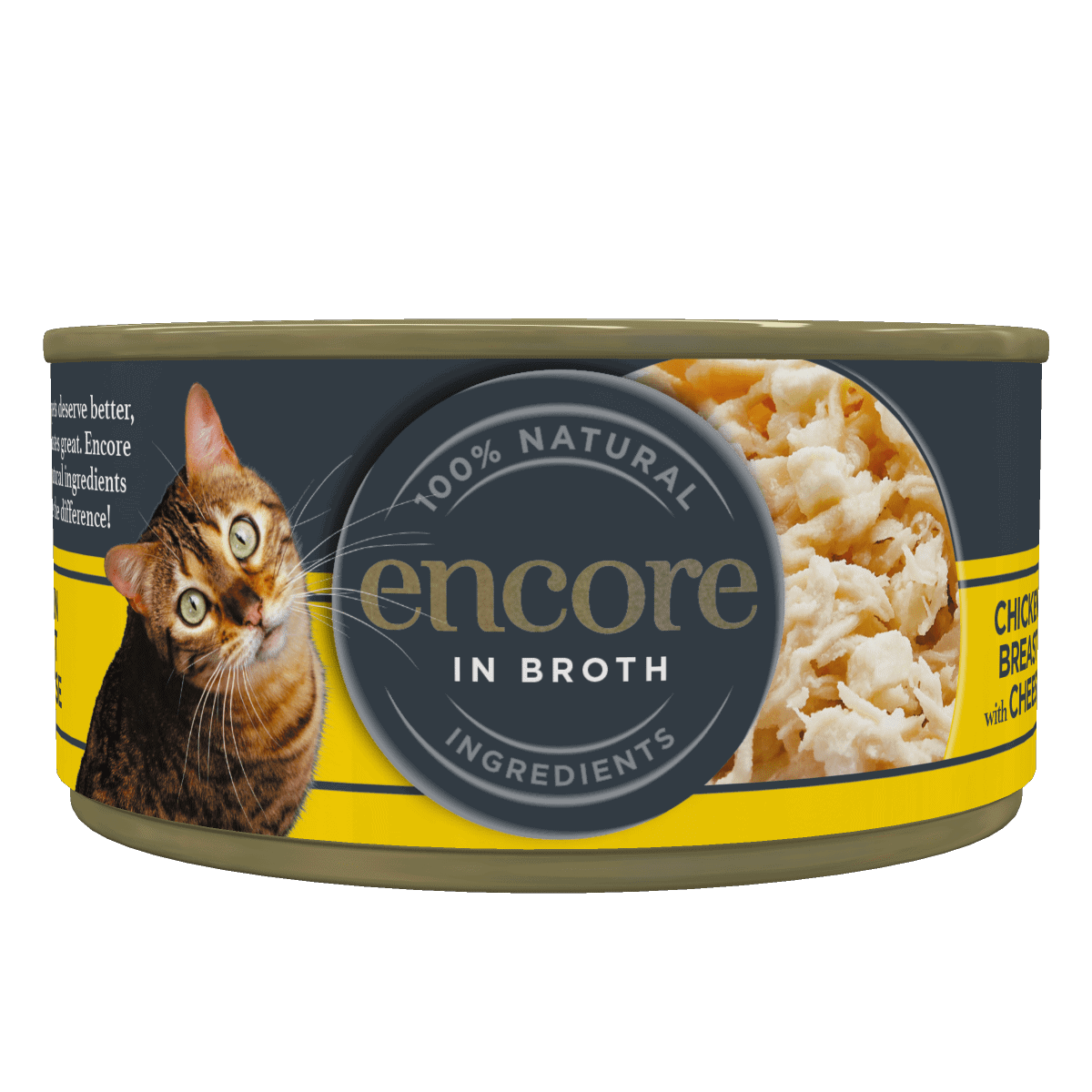 Close up of Encore cat food tin in broth