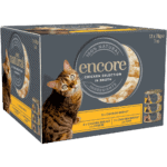 Close up of Box containing 12 tins of Encore chicken cat food in broth finest selection
