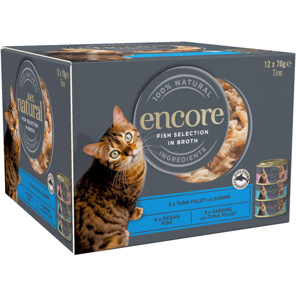 Box containing 12 tins of Encore fish cat food in broth finest selection