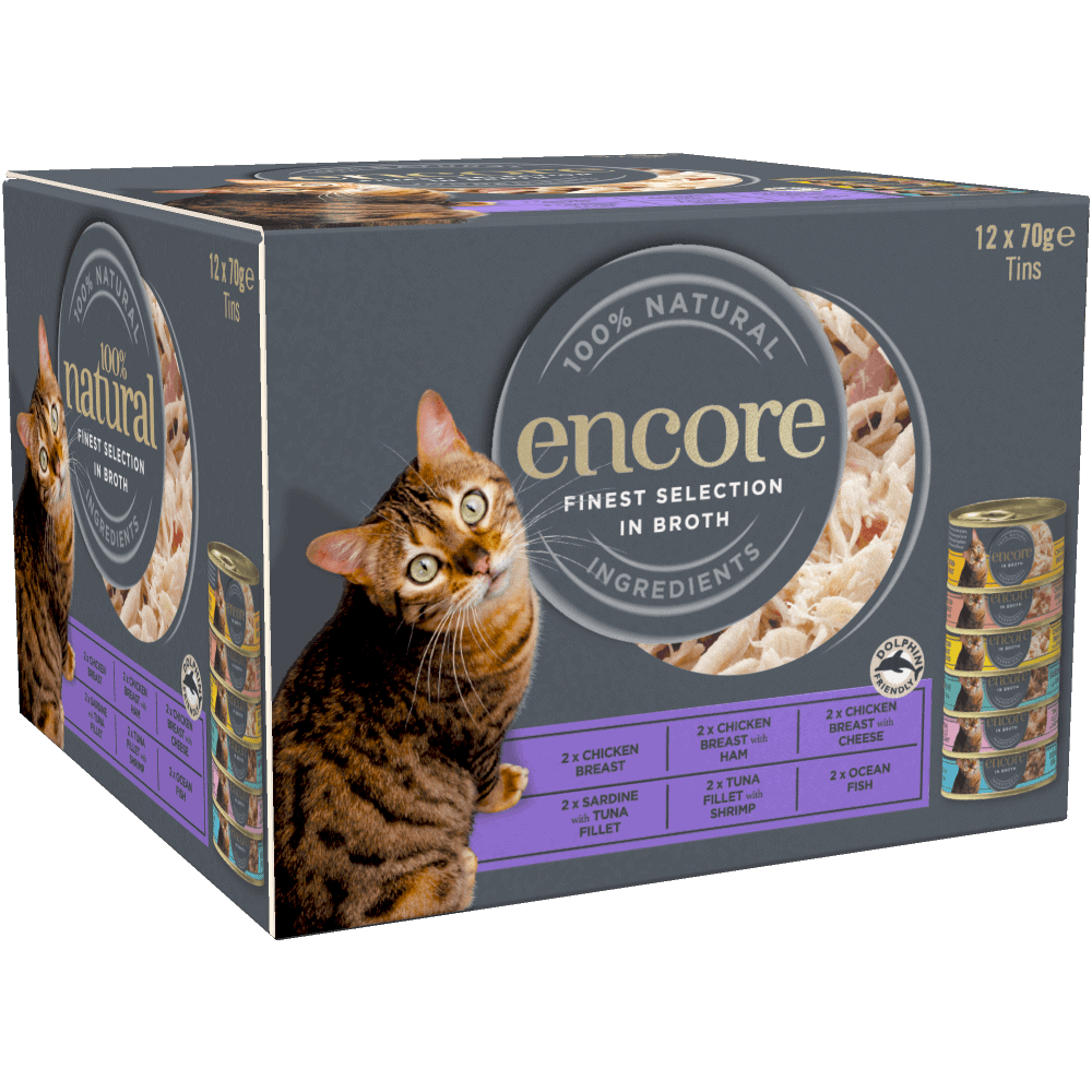 Box of 12 finest selection Encore cat food in broth tins