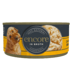 Close up of an Encore chicken in broth dog food tin