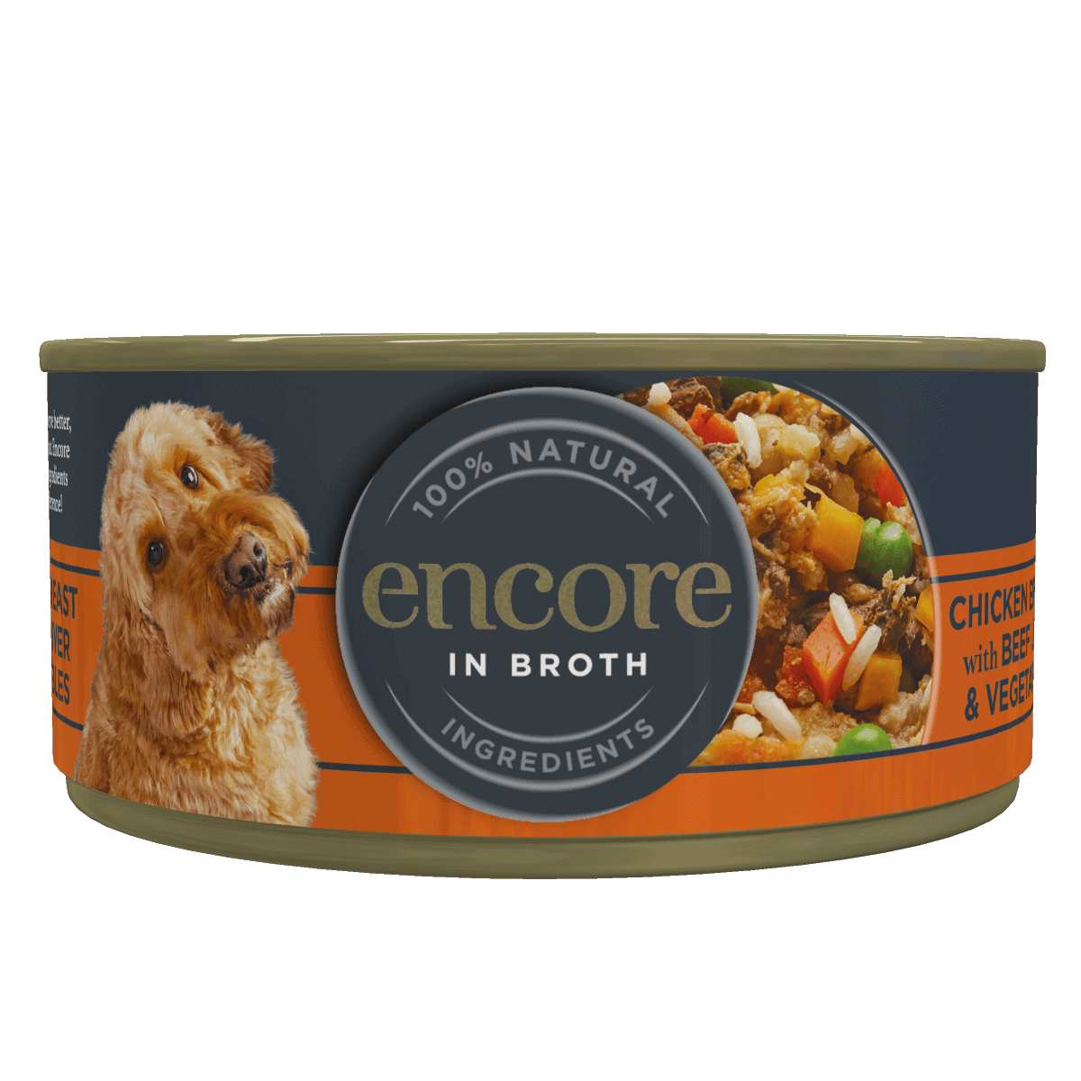 Close up of an Encore chicken in broth with beef liver and veg dog food tin