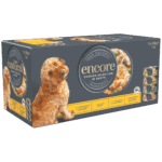 Box of 5 Encore finest selection chicken in broth dog food in tins
