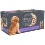 Box of 5 Encore finest selection in broth dog food in tins
