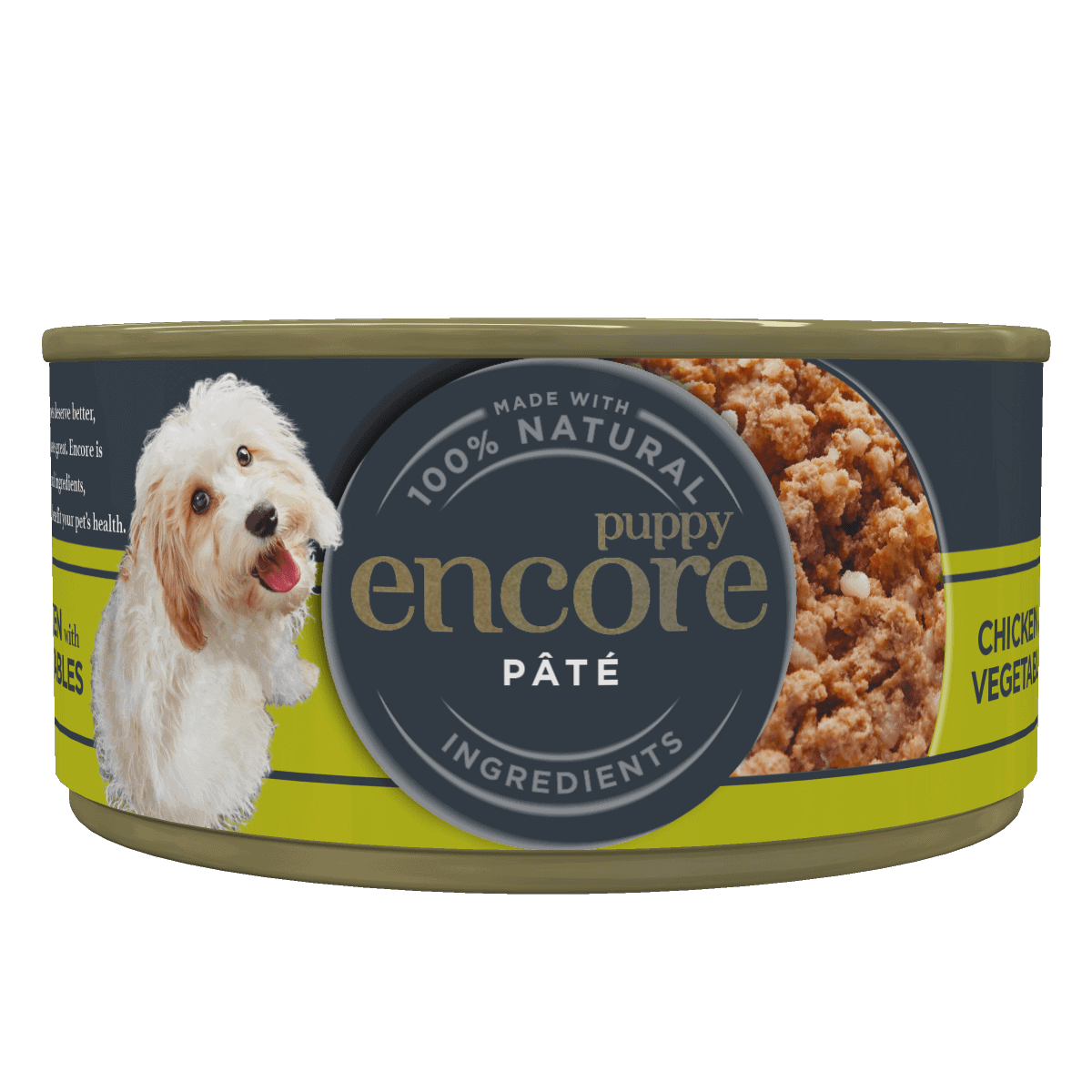 Close up of an Encore puppy pate tin