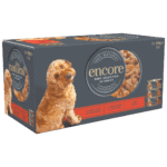 Close up of a Box of 5 Encore finest selection Beef dog food in broth tins