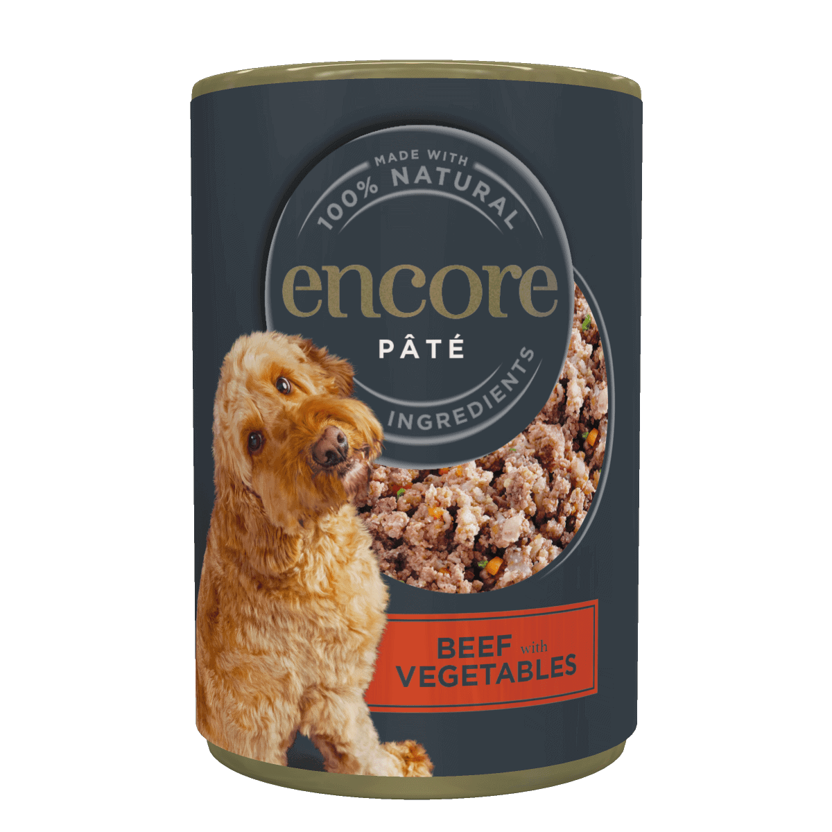 Close up of a tin of beef dog food pate with vegetables