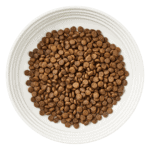 Aerial image of a bowl of Encore chicken dry cat food