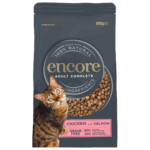 Close up of a pouch of Encore Chicken & Salmon dry cat food