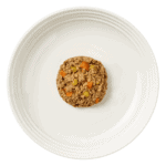 isolated aerial image of a plate of Encore beef dog food pate with vegetables