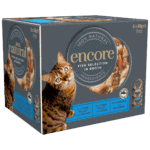 Close up of a box of Encore fish cat food in broth selection