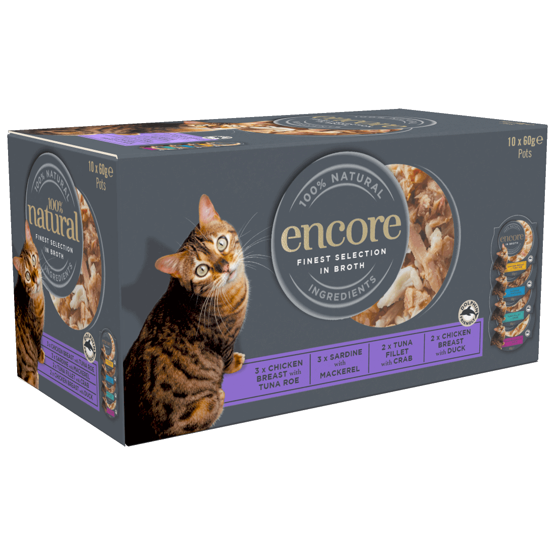 Close up of a box of Encore cat food in broth finest selection