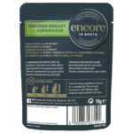 Image of the back of an Encore pouch showing cat food nutrition information