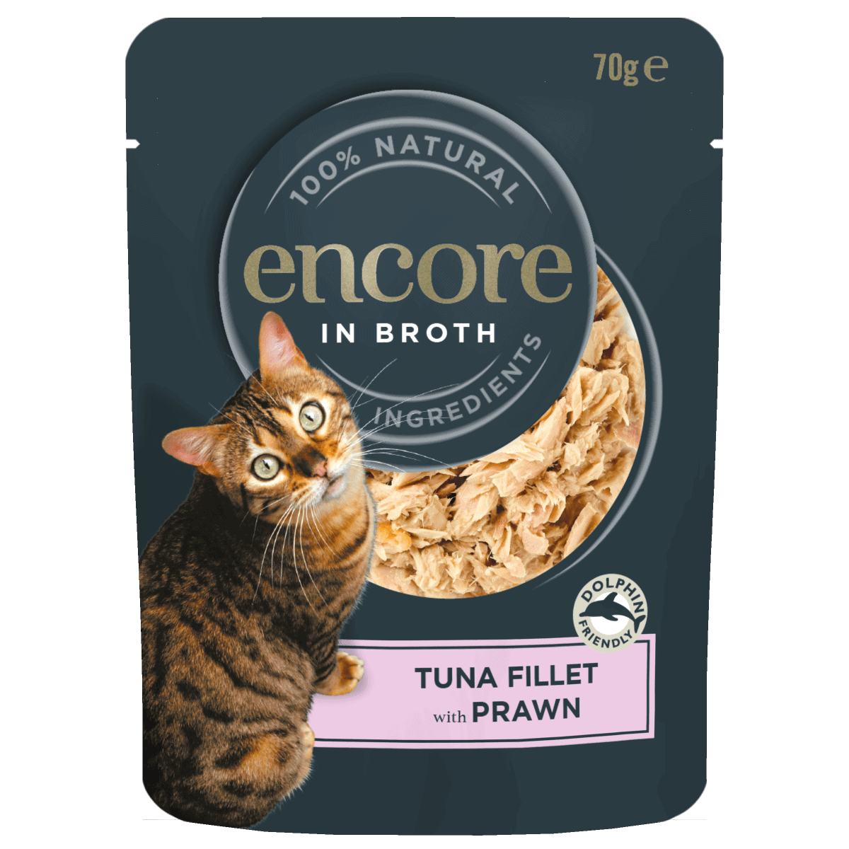 Close up of an Encore in broth tuna fillet with prawn cat food pouch