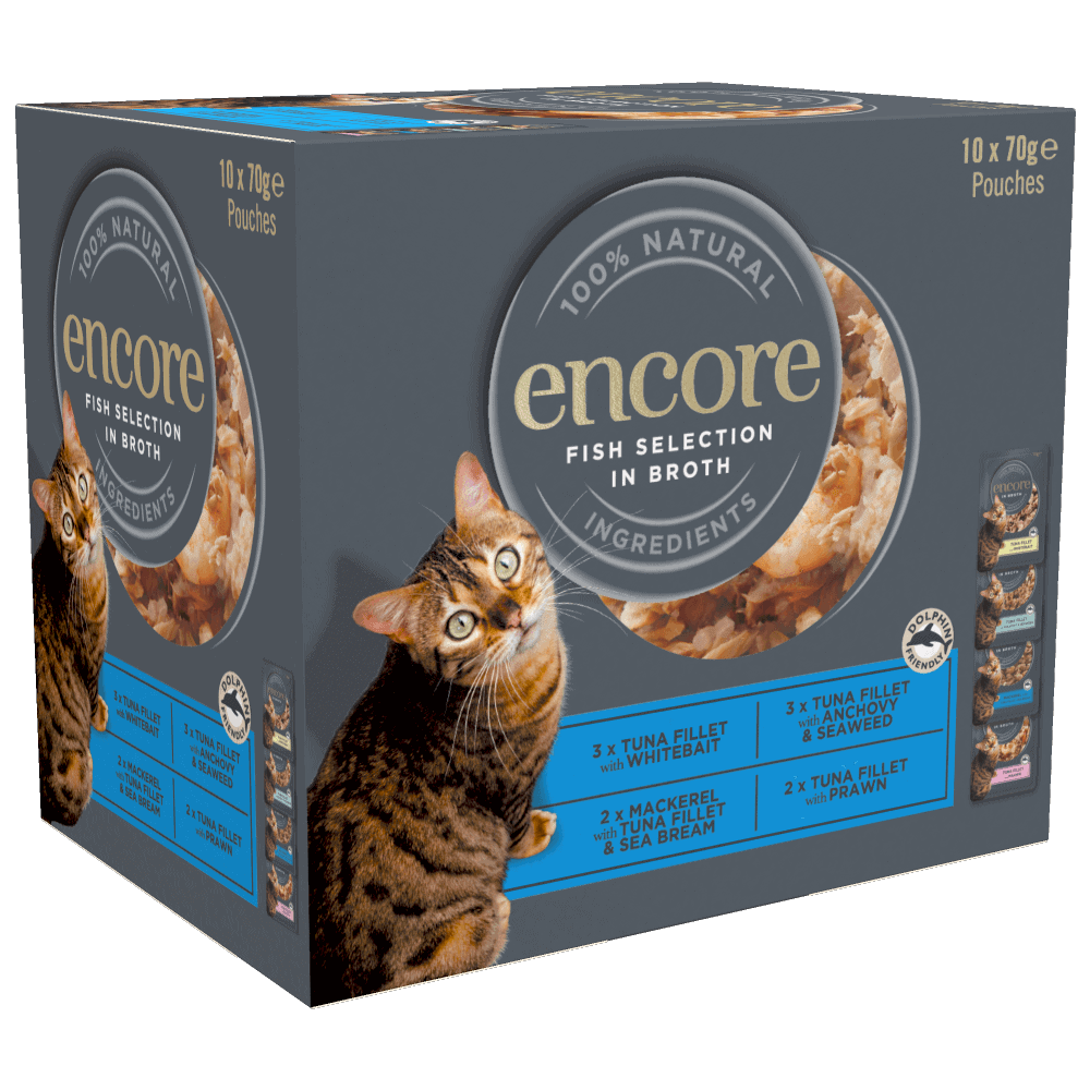 Close up of a box of Encore finest selection of fish cat food in broth