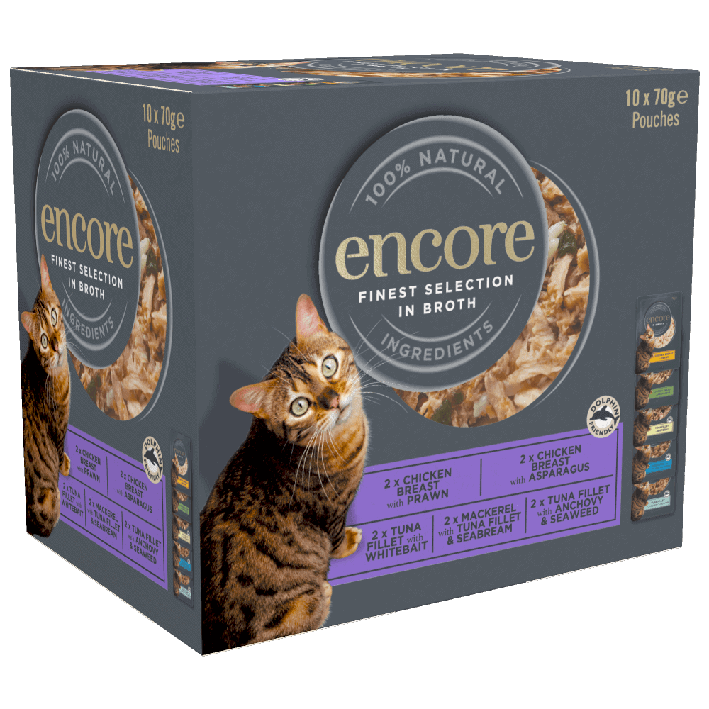 Close up of a box of Encore finest selection cat food pouches