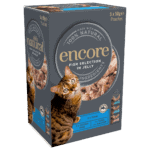 Box of Encore fish selection cat food in jelly