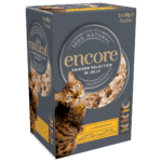 Box of Encore's chicken flavoured cat food jelly