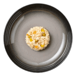 Isolated aerial image of a plate of Encore chicken in broth dog food with salmon & vegetables