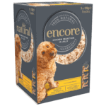 Box of 5 tins of Encore chicken dog food in jelly selection