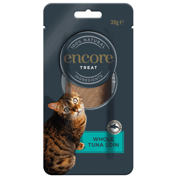 Isolated image of an Encore tuna loin treat in a pouch