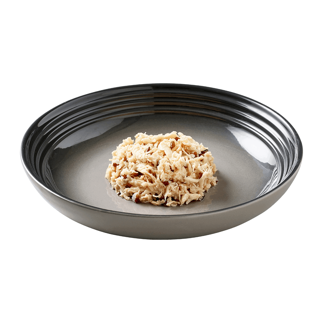 Isolated image of a plate of Encore chicken and brown rice cat food