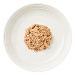 Isolated aerial image of a plate of encore cat food tuna and whitebait