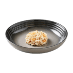 Isolated image of a plate of Encore chicken and prawn cat food
