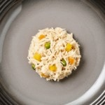 Close up aerial image of a plate of chicken with garden vegetables dog food jelly