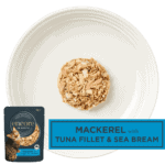 Isolated aerial image of a plate of Encore fillet of tuna cat food with seabream